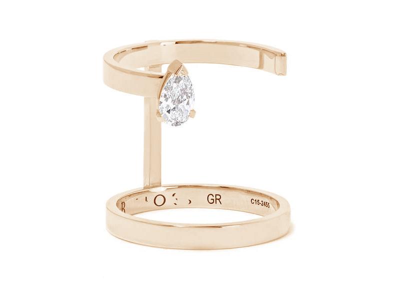 Repossi - Bague en or rose avec un diamant taille poire