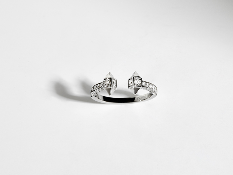 "Statement - ""Rockaway"" mounted on silver set with diamonds"
