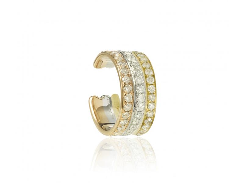 Yvonne Leon - Clip d'oreille en or rose, blanc et jaune serti de diamants