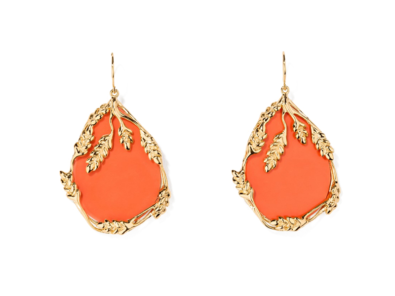 "Aurélie Bidermann - ""Françoise Corail"" earrings mounted on 18K gold-plated with bakelite coral"