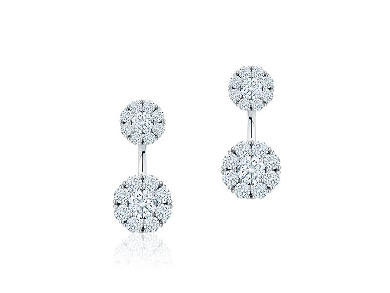 Birks - Boucles d'oreilles Snowflake en or blanc avec diamants
