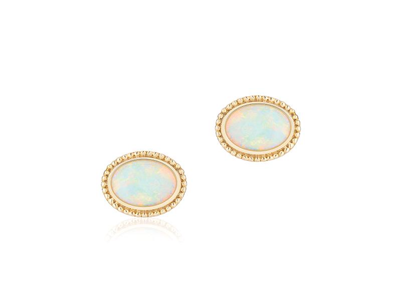 Birks - Boucles d'oreilles en or jaune et opal