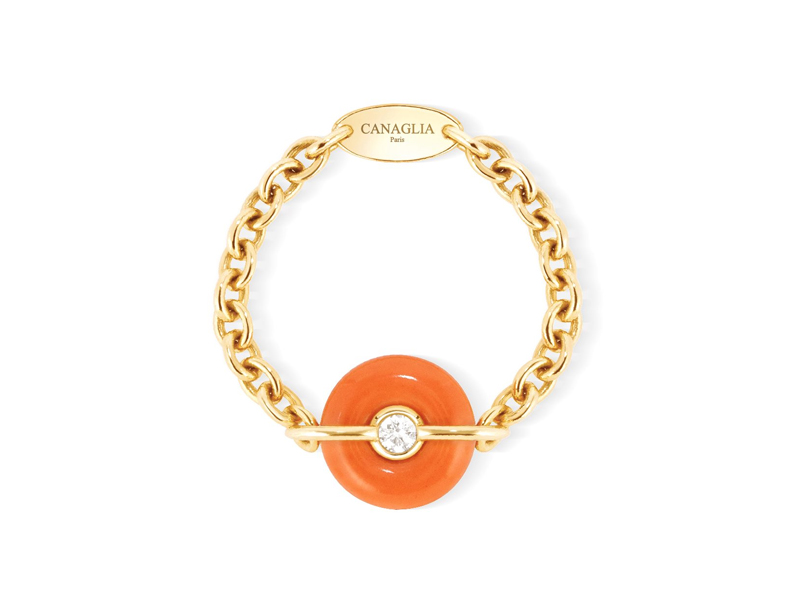 Canaglia - ring mounted on yellow gold and coral