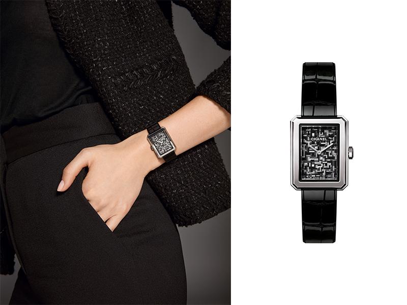 Chanel - Montre Boy Friend Tweed en acier et bracelet en alligator brillant