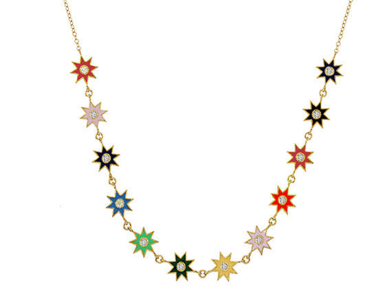 Colette Jewelry - Necklace Twinkle Star mounted on yellow gold and enamel