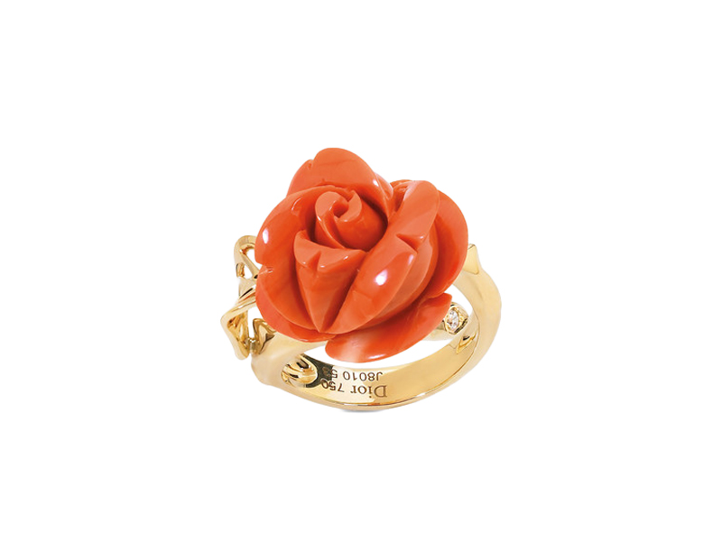 "Dior - ""Rose Pré Catelan"" ring mounted on yellow gold and red coral"