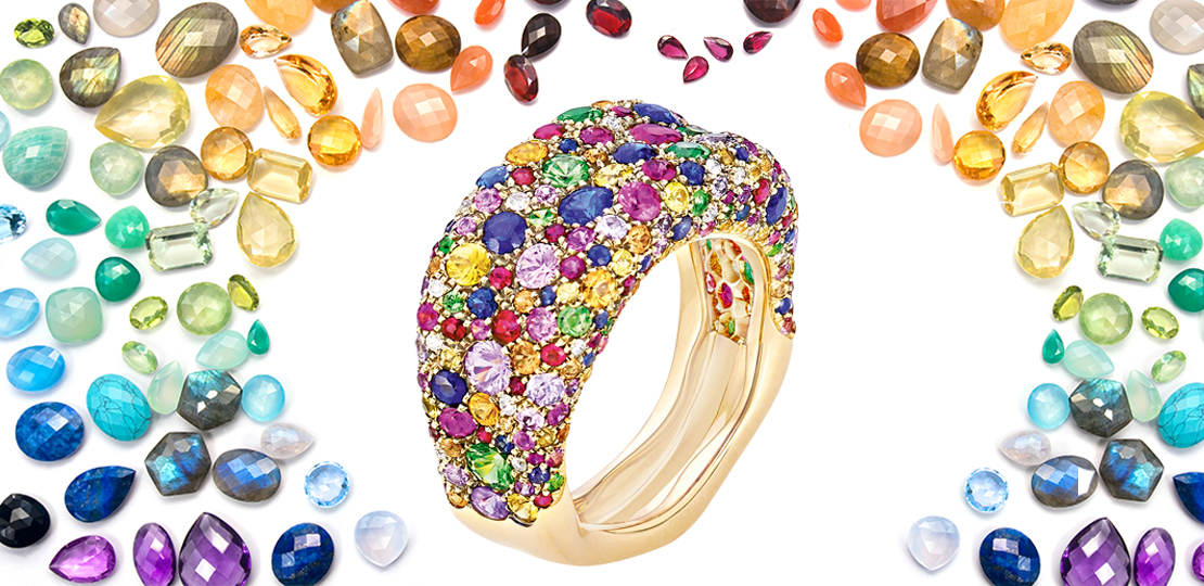 Fabergé Emotion ring colored stones