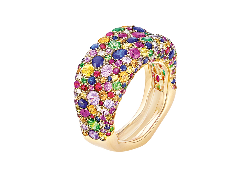 Fabergé - Emotion Ring mounted on yellow gold set with diamonds, sapphires, emeralds, rubies and tsavorties Emotion Ring