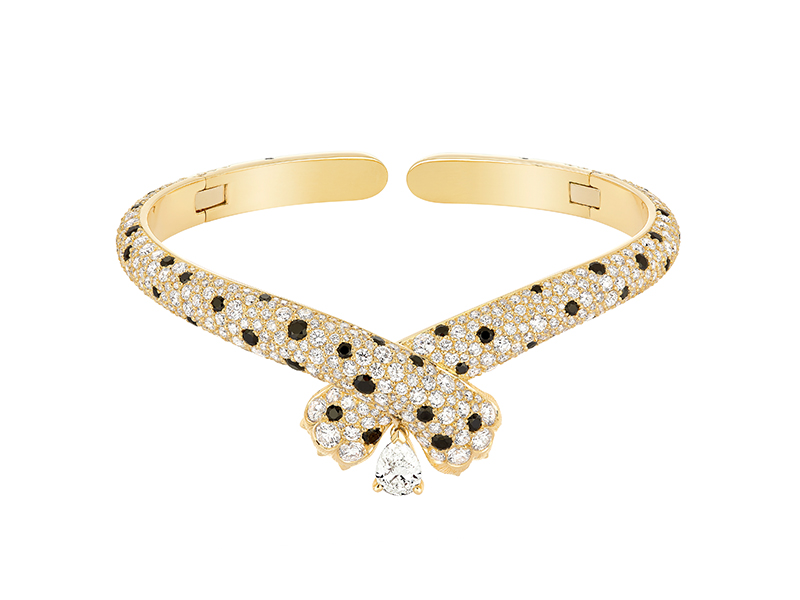 "FRED - ""Ombre Féline"" choker in yellow gold set with diamonds and black spinels"