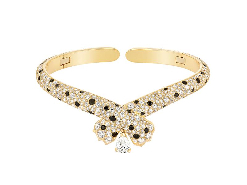 FRED - Choker Ombre Féline en or jaune serti de diamants et de spinelles noires