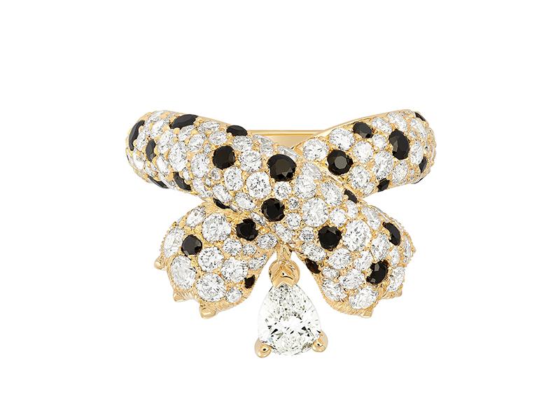 FRED - Bague Ombre Féline en or jaune sertie de diamants et de spinelles noires