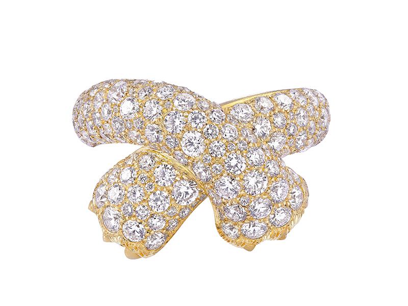 FRED - Bague Ombre Féline en or jaune pavé de diamants