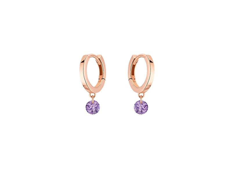 La Brune & La Blonde - Créoles Confetti en or rose et améthystes