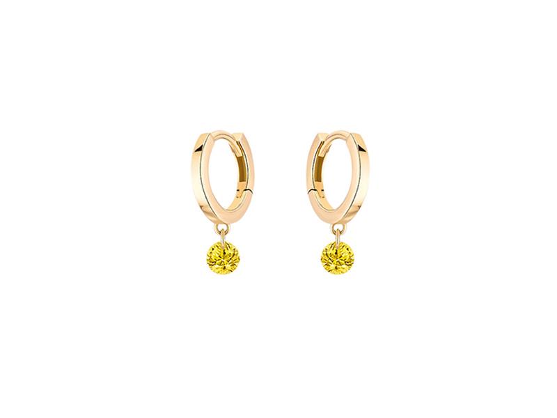 La Brune & La Blonde - Créoles Confetti en or jaune et saphirs jaunes
