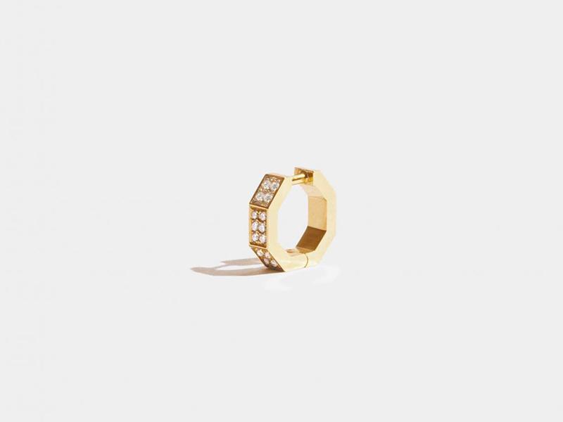 JEM Paris - Boucle d'oreille Octogone en or jaune éthique sertie de diamants