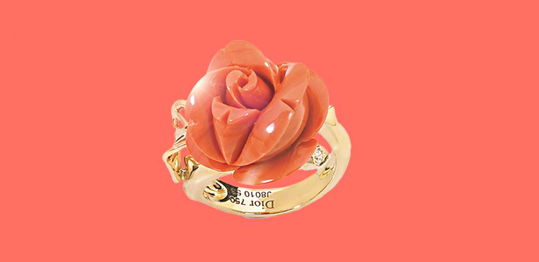 Pantone Dior Bague rose corail