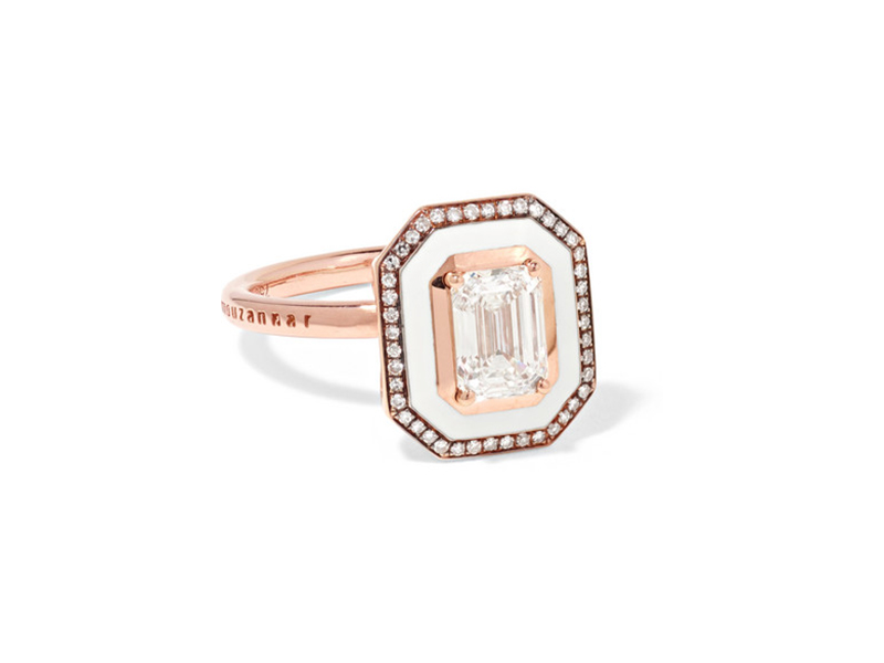 Selim Mouzannar - Mina ring mounted on rose gold and ivory enamel