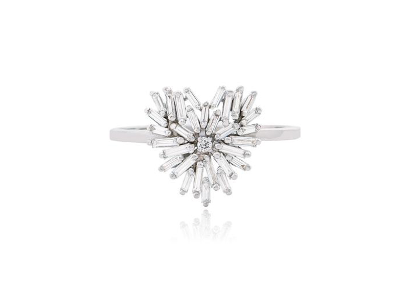 Suzanne Kalan - Petite bague Coeur Fireworks en or blanc et diamants taille baguette