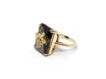 Pulpo smoky quartz ring