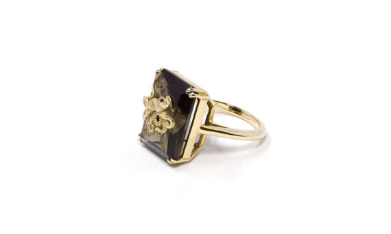 Alexia Demblum 9 carats gold ring , smoky quartz and set with 2 little black diamonds