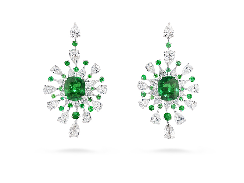David Morris - Cush Emerald Diamond Earrings