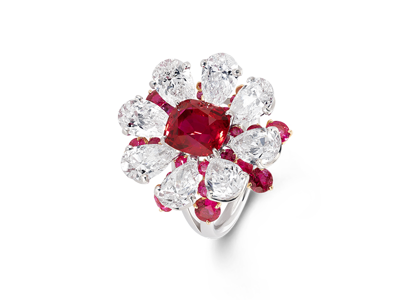 David Morris - Cush Ruby Diamond Flower Ring
