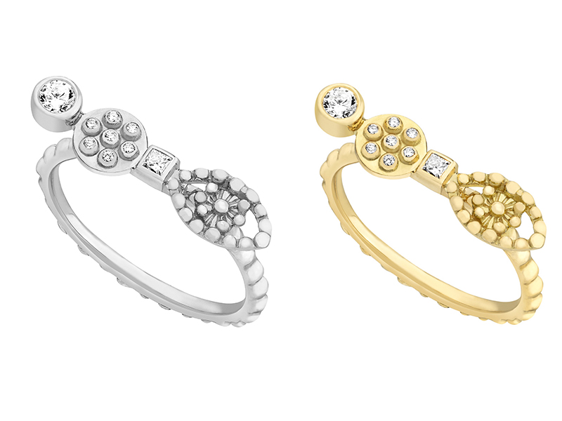Gaya - Eye and Circle rings available on white and yellow gold with diamonds
