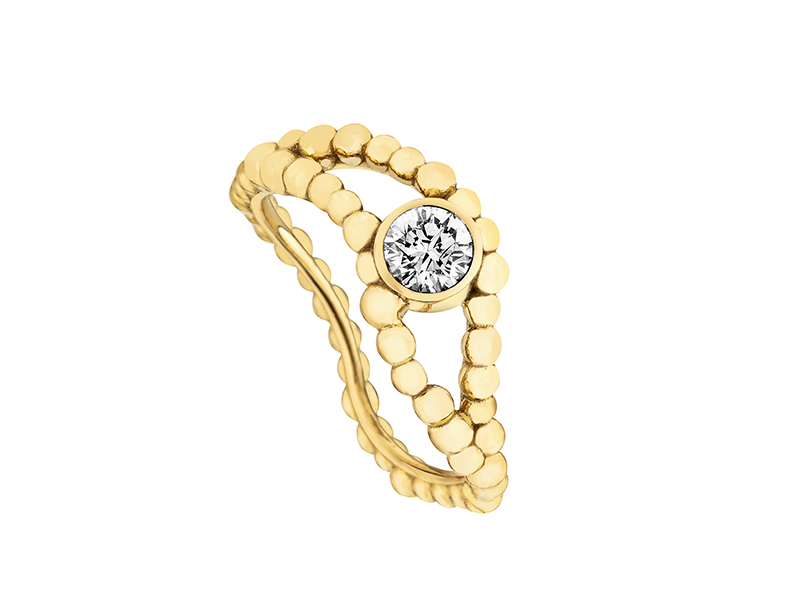 "Gaya - ""Vague"" ring mounted on yellow gold set with a diamond"