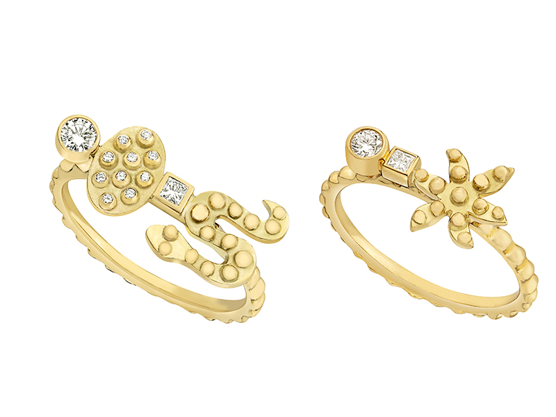 Gaya - Snake and Star rings mounted on yellow gold with diamonds