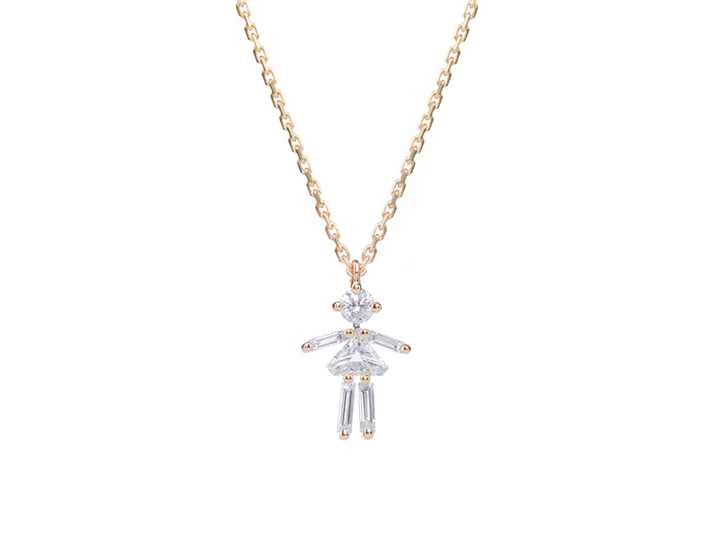 Little One Paris - Diamonds and 18 carats gold girl pendant necklace, mother's day gift on the eye of jewelry shop