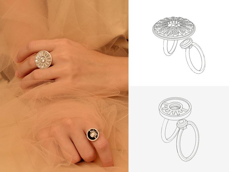 PERSTA - Bague Shamash en or blanc et nacre blanche sertie de diamants et bague Sîn & Shamash en or blanc et onyx sertie de diamants