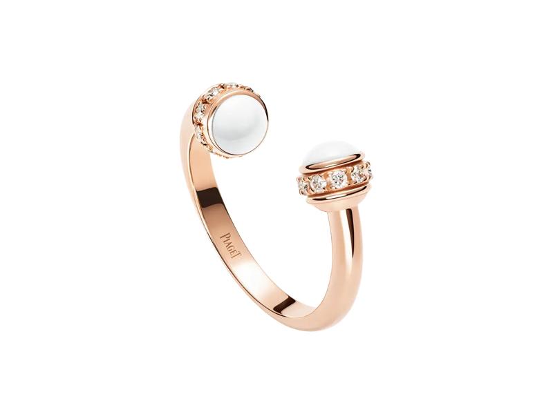 Piaget - Bague ouverte Possession en or rose sertie de diamants et ornée de 2 cabochons en calcédoine blanche