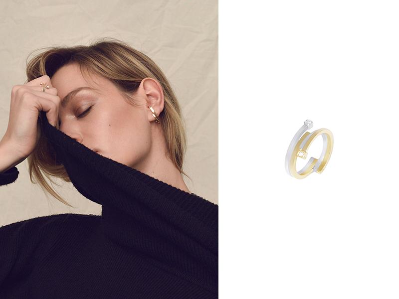 Sibylle Von Münster - Bague Parallel Fragment en or jaune et blanc sertie de diamants