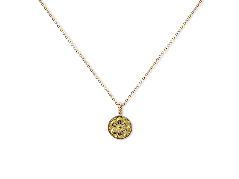 Tabbah - Phoenician flower medal in yellow gold