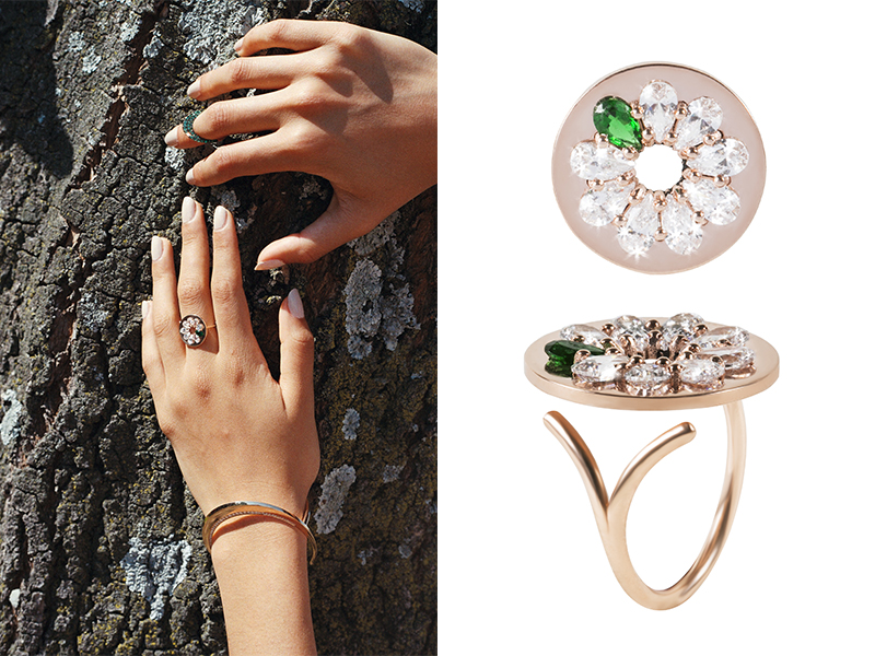 Kim Mee Hye - Ccristina ring mounted on rose gold set with diamonds and emerald