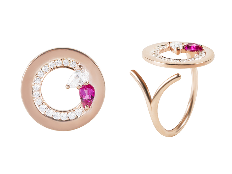 Kim Mee Hye - Ccristina ring mounted on rose gold set with diamonds and ruby