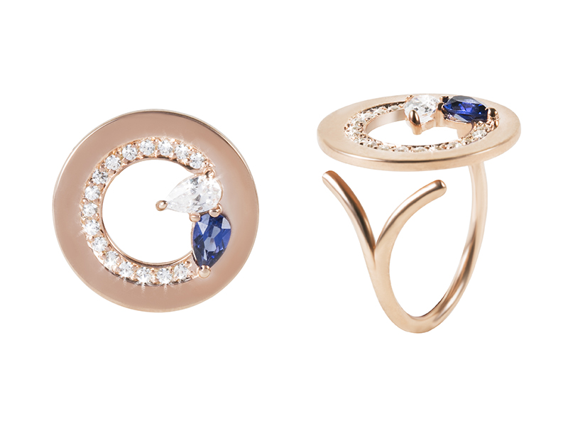 Kim Mee Hye - Ccristina ring mounted on rose gold set with diamonds and sapphire