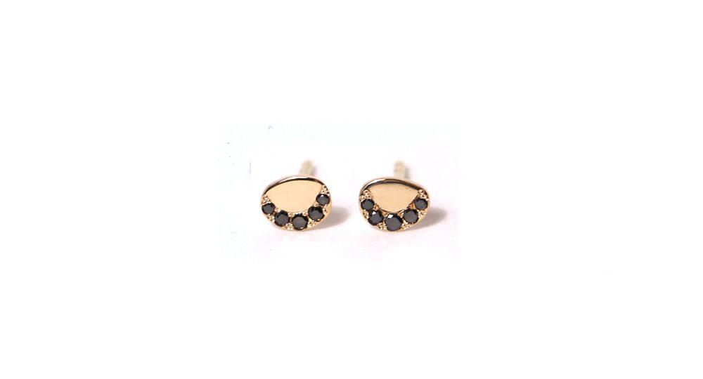 Pebble black diamond earrings