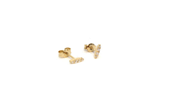 Les Rêveries d'Eve Small diamond stud earrings 18ct yellow gold