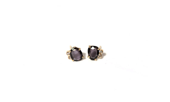 Les Rêveries d'Eve Stud earrings 18ct yellow gold purple grey spinal two diamonds