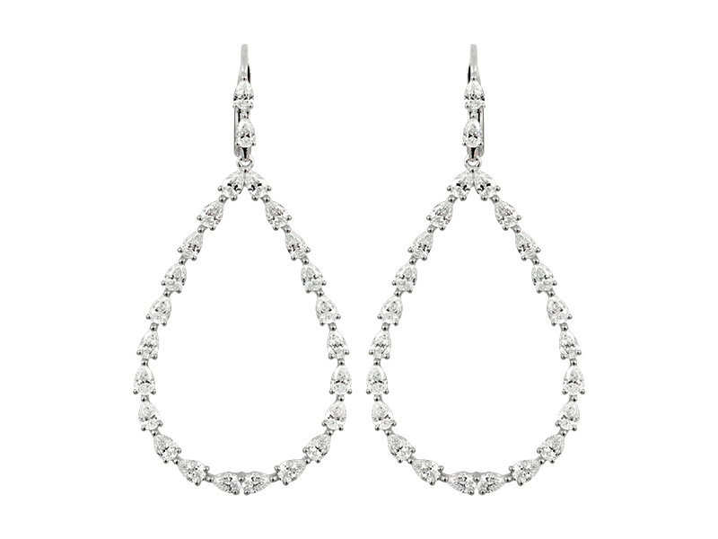 Djula - Diamond drop pear earrings