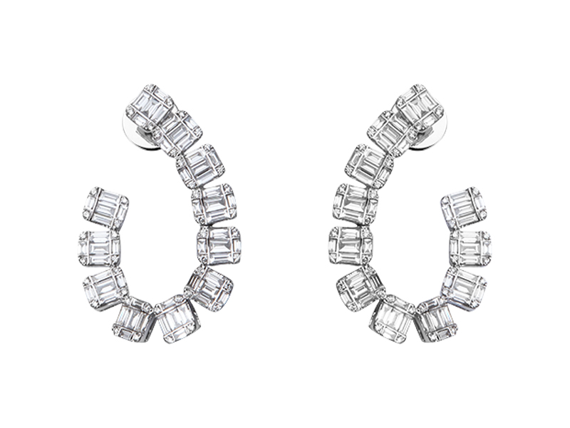 Djula - Boucles d'oreilles Beverly Hills en or blanc serties de diamants