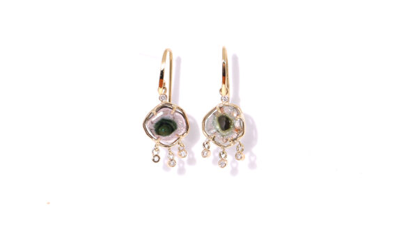 Les Rêveries d'Eve Tourmaline and diamond earrings 18ct yellow gold