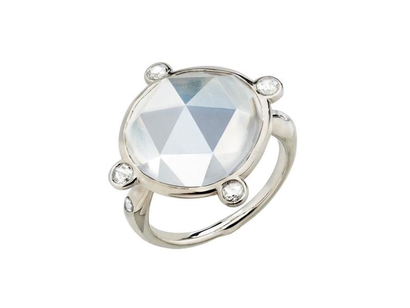 Garaude - Bague Lunaire ornée d'une Pierre de lune et de diamants