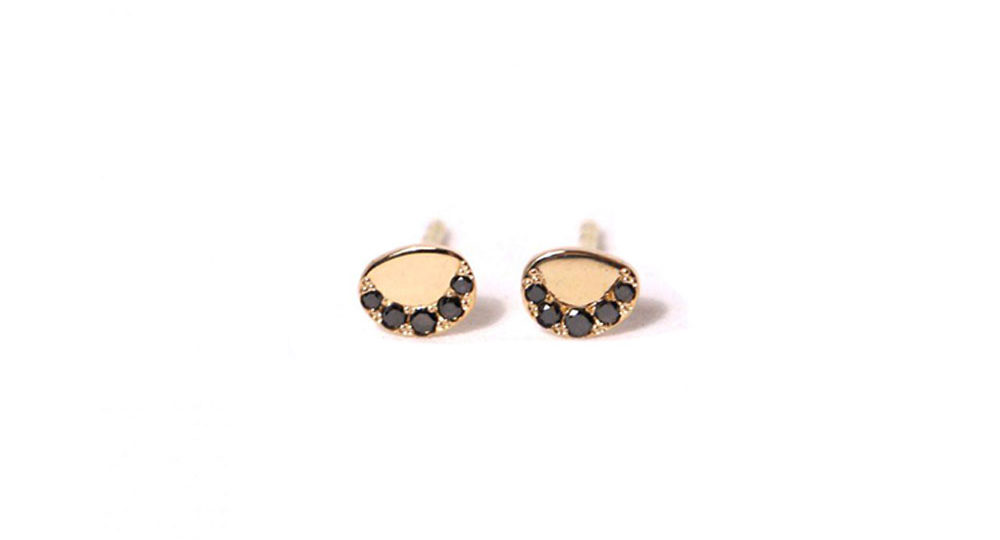 Boucles d'oreilles Pebble en diamants noirs