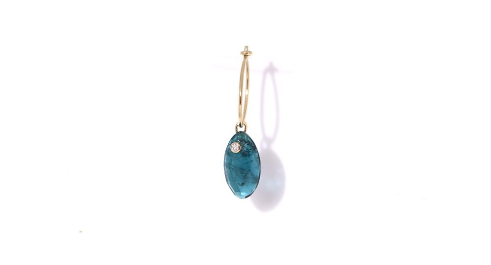Blue tourmaline mono hoop earring
