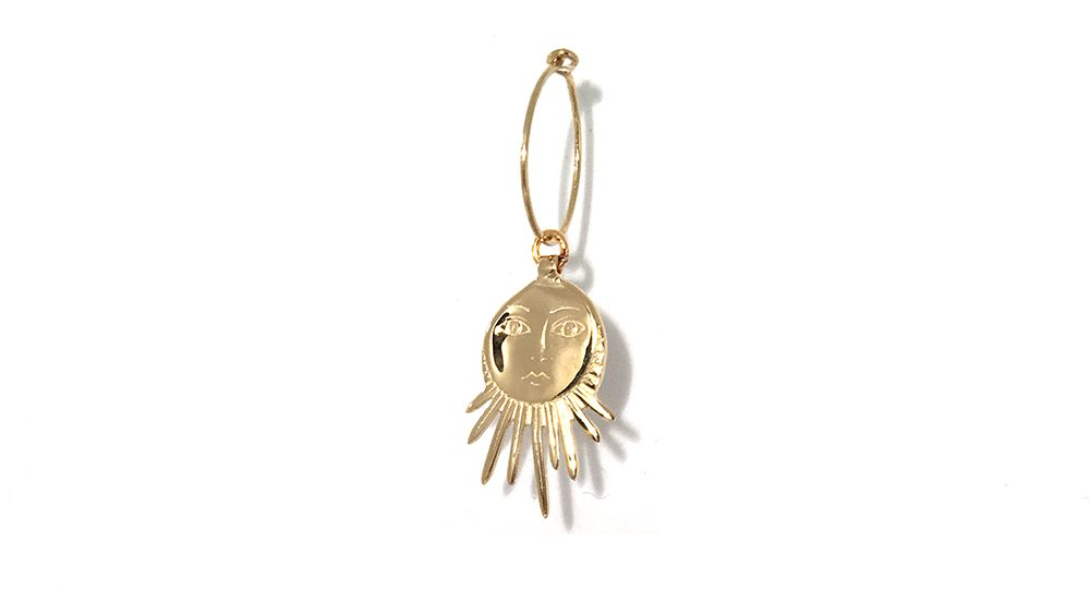 Sun mono hoop earring