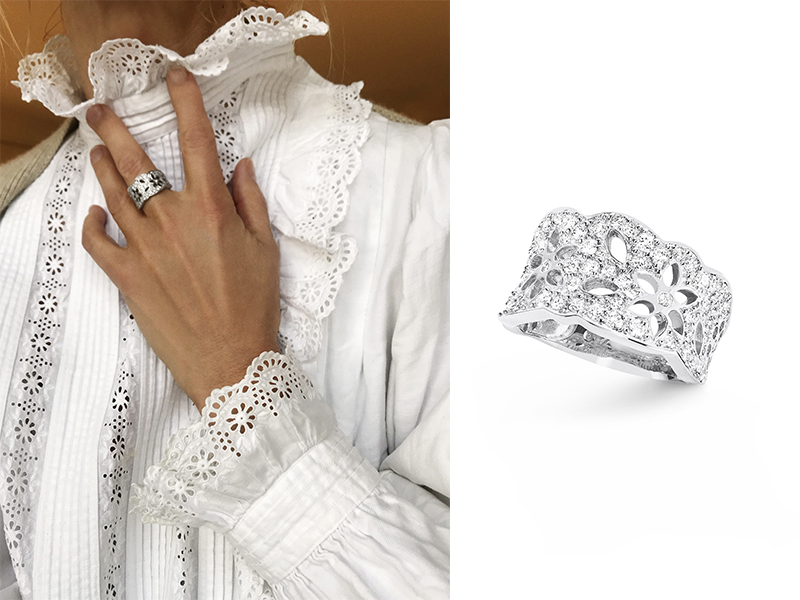 Ole Lynggaard - Bague Lace en or blanc sertie de 69 diamants