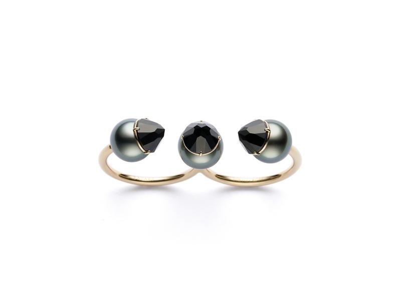 Tasaki - Bague double Refined Rebellion Luxe ornées de perles des mers du sud et de spinelles noirs