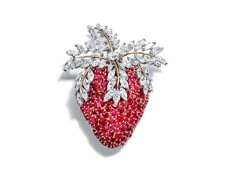 Tiffany & Co Jean Schlumberger Broche Fraise sertie de rubis et diamants blancs